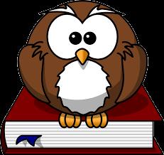 hibou avec un livre rouge